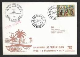 Portugal Espagne 15 Ans Premier Vol TAP Lisbonne Lisboa Las Palmas Canarias España 1977 First Flight Lisbon Canary Spain - Poste Aérienne