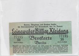 LEINEWEBER BILLIGE KLEIDUNG BROTFARTE BERLIN 30 SERIE BREIKIG CIRCA 1940s - BLEUP - Tickets D'entrée