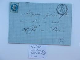 MARQUE POSTALE.VAR.CACHET A DATE CALLIAN GC 4906.EMPIRE 1868. - Storia Postale