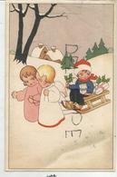 Deux Anges Tirent Une Luge Avec Un Petit Hollandais, Houx, Cadeaux. - Anges