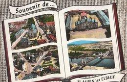 SAINT-AUBIN-les-ELBEUF (76). Souvenir De ... Forme Livre 4 Vues: Eglise, Hôtel De Ville, Rue Du Maréchal-Leclerc, Pont - Francia