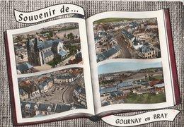 GOURNAY-EN-BRAY (76). Souvenir De ... Forme Livre 4 Vues: Eglise St-Hildever, Rue De Paris, Pl. Nationale, Usine Gervais - Gournay-en-Bray