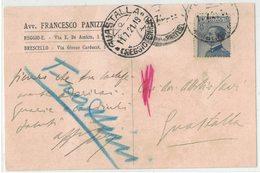 AN183  Regno 1921  Cartolina Avv. Panizzi Brescello  Per Guastalla 25c Vitt.Emanuele Sx - 1900-44 Vittorio Emanuele III