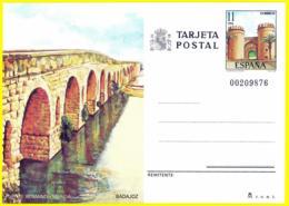 España. Spain. 1984. Postal Stationery. Entero Postal. Turismo. Puente Romano Merida. Badajoz - 1981-90 Nuevos & Fijasellos