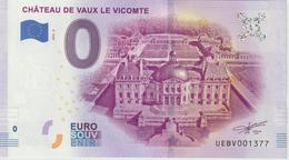 Billet Touristique 0 Euro Souvenir France 77 Chateau De Vaux Le Vicomte 2019-2 N°UEBV001377 - Essais Privés / Non-officiels