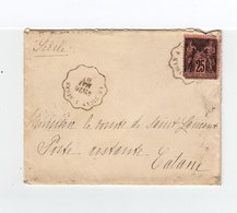 Sur Env. Cachet Ambulant Le Vigan à Nismes 1887 Sur Type Sage 25 C. Noir Et Rose. CAD Destination Catana Sicile. (2207x) - Marcophilie (Lettres)