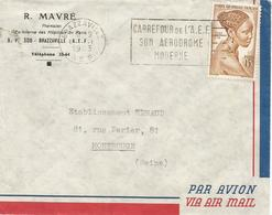 AEF Congo 1953 Brazzaville Aerodrome Slogan Cover - Brieven En Documenten