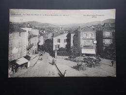 LANGEAC La Rue Du Pont Et La Place Navarin  Années 20  Animée Charettes - Langeac