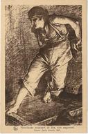 ARTISTE PEINTRE : CECILE DOUARD - 1897 - HIERCHEUSE POUSSANT DE DOS SON WAGONNET - Peintures & Tableaux