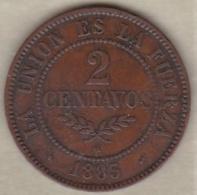 Bolivie. 2 Centavos 1883. Cuivre. KM# 168 - Bolivie