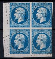 NAPOLEON N° 14 En BLOC DE 4 TIMBRES COIN DE FEUILLE OBLITÉRÉS PC 64 AMFREVILLE LA CAMPAGNE (EURE) QUALITÉ B (COTE - 1853-1860 Napoleon III