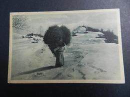 19930) CONTADINA CON ENORME BALLA DI FIENO SULLE SPALLE NON VIAGGIATA 1925 CIRCA MOLTO BELLA - Costumi