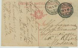 C.P. LEONI Cent.10(mill.16),TIMBRO POSTA MILITARE-CAMPO RIORDINAMENTO 3 (CIVIDALE),1918,PER MODENA - 1900-44 Vittorio Emanuele III