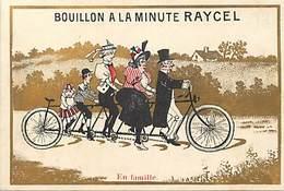 - Chromos -ref-ch723- Bouillon A La Minute Raycel - Bordeaux 1895 - En Famille - Tandem Rallongé - Velo - Dorures - - Trade Cards