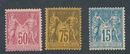 CS-7: FRANCE: Lot Avec N°98-99-101 Tous*GNO - 1876-1898 Sage (Type II)