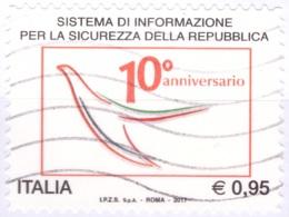 Italia 2017 - Usato - 10º Anniversario Del Sistema Di Informazione Per La Sicurezza Della Repubblica - Bolaffi Nr. 3935 - 2011-...: Usati