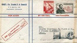 44705, Ecuador, Circuled Cover  1951 From Guayaquil To Italy (stamp Miguel De Cervantes Saavedra) - Ecuador