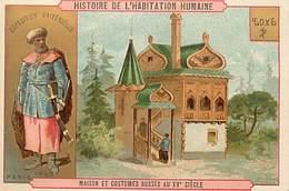 - Chromos -ref-ch720- Histoire De L Habitation Humaine -maison Et Costumes Russes- Russie -expo Universelle 1889 -dorure - Trade Cards