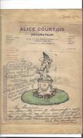 SCULPTURE  ALICE COURTOIS  Décorateur ( Paris - Biarritz ) Dessin   Et Autographe 1904  Décor De Jardin - Sculture