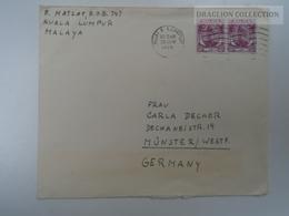 E0009   Cover  Malaya  1956 Cancel Kuala Lumpur - Grande-Bretagne (ex-colonies & Protectorats)