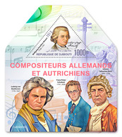 DJIBOUTI 2019 - W.A. Mozart, L. Van Beethoven, F. Schubert, J.S. Bach S/S. Official Issue - Musique