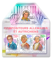 DJIBOUTI 2019 - L. Van Beethoven, F. Schubert, J.S. Bach, F.J. Haydn. Official Issue - Musique