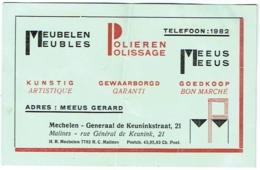 Carte Visite Publicité. Mechelen/Malines. Meubelen/Meubles MEEUS. De Keuninkstraat. - Cartes De Visite