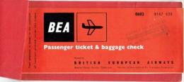 Billet/Ticket Avion. BEA. Brussels/London/Brussels. 1962. British European Airways. - Plane Ticket