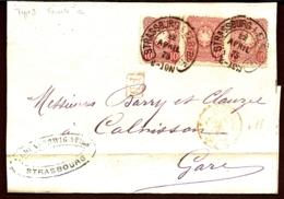 LETTRE ALSACE-LORRAINE OCCUPATION- STRASBOURG POUR CALVISSON- 3 EMPIRE N°32- CAD FER A CHEVAL TYPE 9 1875- 3 SCANS - Marcophilie (Lettres)