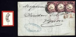 LETTRE ALSACE-LORRAINE OCCUPATION- MULHAUSEN POUR VOIRON- BANDE 3 N° 16 CAD FER A CHEVAL TYPE 9- 1874- 3 SCANS + INFO - Storia Postale