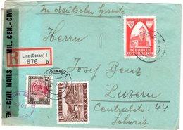 Österreich 1946, 12 G.+1 S. U. 30+70 G. Auf Reko Brief V. Linz I.d. Schweiz - Österreich
