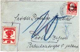 Bayern 1920, 10 Pf.+DR Auf Brief V. Frankenthal M. Porto Kontrolle V. Fürth - Bavaria