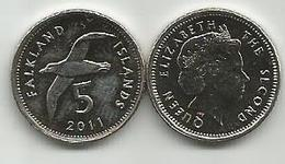 Falkland Islands 5 Pence 2011. High Grade - Malvinas