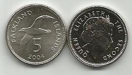 Falkland Islands 5 Pence 2004. High Grade - Malvinas