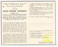 DP Julie M. Deprez / Delchambre ° Hulste Harelbeke 1871 † Deerlijk 1949 / Victor Heyvaert Ottevaere - Devotieprenten