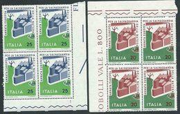 Italia 1970; Salvaguardia Della Natura, Serie Completa In Quartine Di Angolo. - 1946-.. République