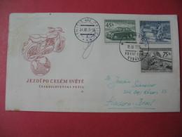 Enveloppe  Moto   Tchécoslovaquie 1955   Doporucene Jezdi Po Celem Svete - Motos