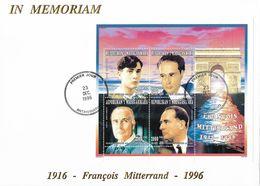 Madagascar 1996 - Mitterrand 1916-1996 1er Jours Des Timbres 1488 à 1491 Et Du Bloc - Sur Enveloppe - Madagascar (1960-...)