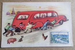 BUS POUSSE PAR LES PASSAGERS - Voiture, Car, Autobus, Transport ( Illustration, Dessin, Illustrateur ) - Contemporain (à Partir De 1950)