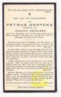 DP Petrus DeRycke ° Harelbeke 1864 † Deerlijk 1949 X Romanie DeVolder - Devotieprenten