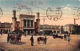 "0461 ""BRESLAU - BRESLAVIA - POLONIA - HAUPTBANHOF"" ANIMATA, CARROZZE, CARRI, AUTO, STAZIONE. CART. ORIG. SPED. 1921 - Polonia"