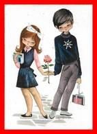 CPSM/gf FANTAISIES.  Jeunes étudiants Amoureux, Rose, Illustrateur Gallardo...E585 - Coppie