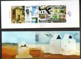 GREECE, 2018, MNH, EUROMED, HOMES, HOUSES,  BOATS, BOOKLET OF 4v  WITH IMPERFORATE ON TWO SIDES VARIETY - Architecture