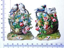 2 CHROMOS DECOUPIS   GAUFRES .   H : 8 Cm......PANIERS DE FLEURS AVEC COLOMBES....LETTRE - Fleurs