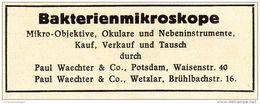 Original-Werbung /Anzeige 1947 - BAKTERIENMIKROSKOPE / PAUL WAECHTER / WETZLAR - POTSDAM - Ca. 60 X 25 Mm - Werbung