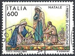 Italia, 1992 Natale, 600L Policromo # Michel 2253 - Scott 1917 - Sassone 2033 - Usato - 6. 1946-.. Republik