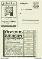 Original-Werbung 1920 - BÜCHERZETTEL / BESTELL - POSTKARTE / KOSMOS / FRANCKH - STUTTGART - JE SEITE 125 X 175 Mm - Werbepostkarten
