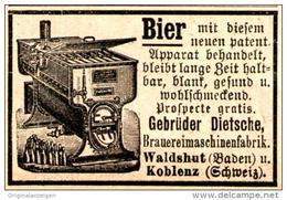 Original-Werbung/ Anzeige 1894 - BIER HALTBAR MACHEN /BRAUEREIMASCHINEN FABRIK DIETSCHE WALDSHUT /KOBLENZ- Ca.45 X 25 Mm - Werbung