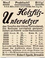 Original-Werbung/ Anzeige 1894 - HOLZFILZ UNTERSETZER / ROBERT SPUTH - DRESDEN - Ca. 45 X 55 Mm - Pubblicitari
