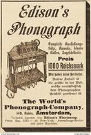 Original-Werbung/ Anzeige 1895 - EDISON'S PHONOGRAPH / THE WORLD'S PHONOGRAPH COMPANY - AMSTERDAM - Ca. 90 X 135 Mm - Reclame